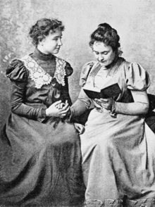 Helen Keller in 1899 with lifelong companion and teacher Anne Sullivan. Photo taken by Alexander Graham Bell at his School of Vocal Physiology and Mechanics