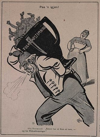 Ola Nordmann - Caricatures of Ola Nordmann are quite common. This is a drawing from 1905 by caricaturist Olaf Krohn illustrating how Ola Nordmann had to carry the burden of two referendums (The Norwegian union dissolution referendum, 1905 and Norwegian monarchy plebiscite, 1905, both of which resulted in some of the most lopsided returns of a legitimate election) in one year, while an amused Europe is observing from a distance.