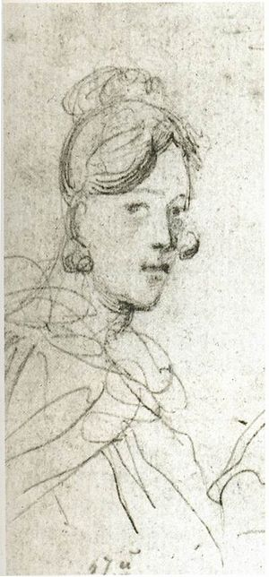 Varvara Bakhmeteva - Sketch of Barbara Lopukhina, by Lermontov