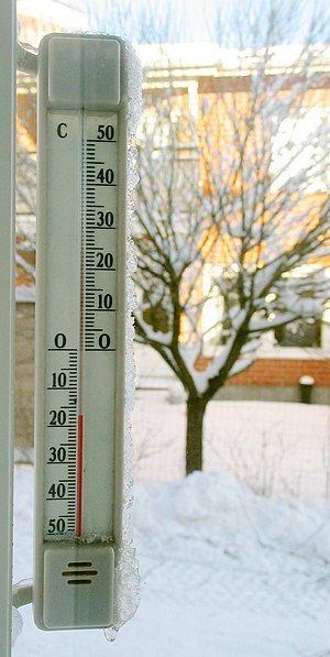 A thermometer showing −17°C.
