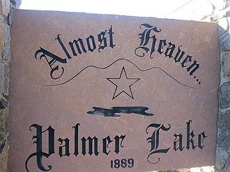 Palmer Lake, Colorado - Image: Palmer Lake, CO, welcome sign IMG 5174