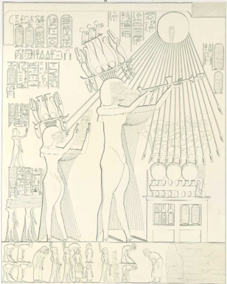 Tomb of Panehsy - Akhenaten and Nefertiti offering to the Aten. From the tomb of Panehsy in Amarna. from Lepsius Denkmahler.