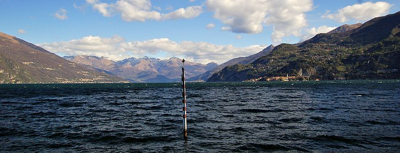Panorama of Lake Como from Punta Spartivento in Bellagio, Italy.