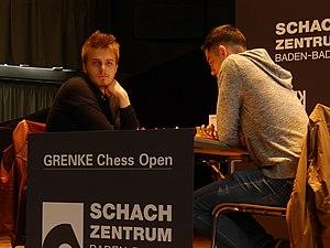 Richárd Rapport - Richárd Rapport (left) against Gábor Papp, Karlsruhe, Grenke Chess Open 2017