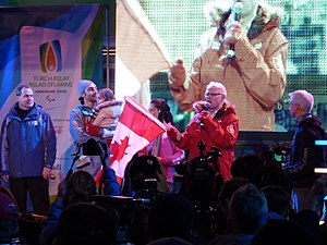 2010 Winter Paralympics torch relay - BC Premier Gordon Campbell and Roberto Luongo at Robson Square on March 11, 2010.
