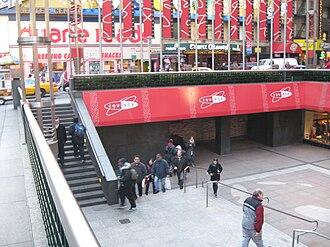 Paramount Plaza - The sunken plaza with subway entrance