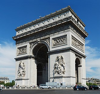 First French Empire - The Arc de Triomphe, ordered by Napoleon in honour of his Grande Armée, is one of the several landmarks whose construction was started in Paris during the First French Empire.