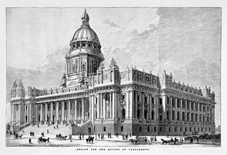 Parliament House, Melbourne - Lithograph of the original plans. The proposed reading room dome and wings were never completed, although various proposals to add a dome have surfaced over the years.
