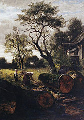 Brushwood Collector (Mother with Her Little Boy in front of the Dachau Miill)