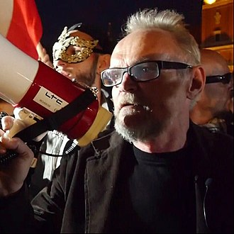 Citizens of Poland - Paweł Kasprzak – one of the leaders of Citizens of Poland during a demonstration.