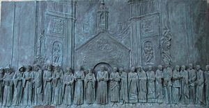 "Prayer of Saint Francis - Memorial engraving of global religious leaders at the first ""World Day of Prayer for Peace"", in Assisi"