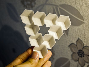 Penrose triangle - A 3D-printed version of the Reutersvard Triangle illusion