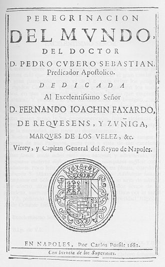 Pedro Cubero - Title page of the second edition of Peregrinación del mundo (1682)