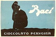 Marchio dei Baci Cioccolato Perugina, immagine pubblicitaria, 1923