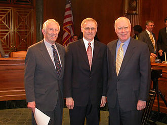 Peter W. Hall - Hall (center) with Senators Jeffords (left) and Leahy after his confirmation hearing