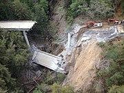 Pfeiffer Canyon Bridge being demolished