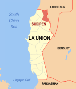 Map of La Union showing the location of Sudipen
