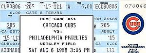 1988 Chicago Cubs season - A ticket from the game where Cubs' reliever Goose Gossage earned his 300th career save on August 6, 1988.