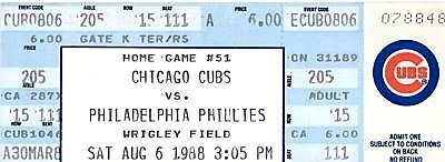 Philadelphia Phillies at Chicago Cubs 1988-08-06 (ticket)