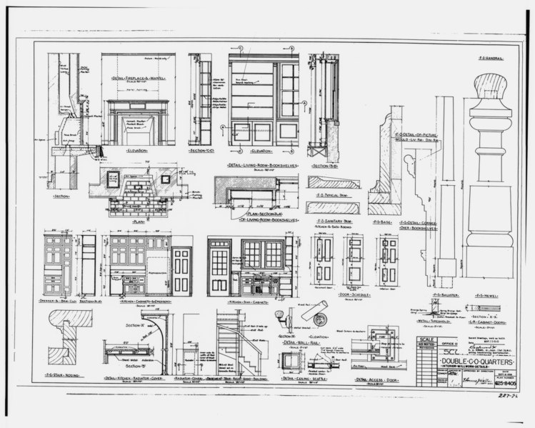 File:Photographic copy of sepia of original construction drawing dated September 15, 1938 (original sepia in plan room of Base Civil Engineer, Scott AFB) Interior details - Scott Air HAER ILL,82-OFAL,1-16.tif