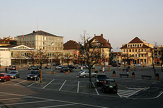 Payerne - Town hall and central plaza in town