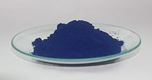 Photo of a dish of deep blue powder