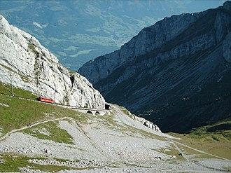 Steep grade railway - The Pilatusbahn is the steepest rack railway