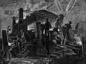 Broad sheet glass - Among the Glass-Workers, an 1871 engraving by Harry Fenn