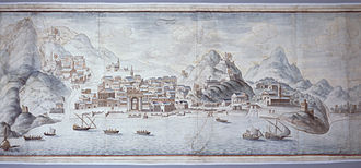Finale Ligure - Map of Finale with the town wall, 17th century.