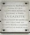 Plaque Théophraste Renaudot, 8 quai du Marché-Neuf, Paris 4.jpg