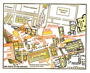 Roman Forum - Map of the Roman Forum. Structures of Republican Rome are shown in red, those of Imperial Rome in black. From Platner's Topography and Monuments of Ancient Rome, 1904. (Adjusted)