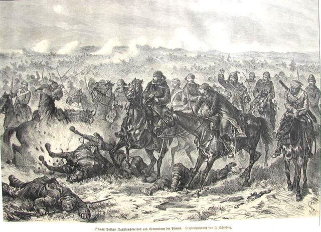 Попытка прорыва и ранение Осман-паши. Гравюра J. Schönberg 1877.