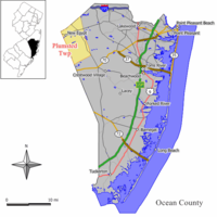 Map of Plumsted Township in Ocean County. Inset: Location of Ocean County highlighted in the State of New Jersey.