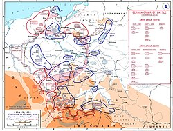 A Map showing the dispositions of the opposing forces on 31 August 1939 with the German plan of attack overlayed in pink.