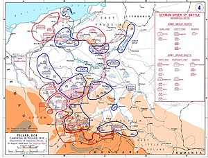 2nd Panzer Division (Wehrmacht) - The deployment and planned advances for the invasion of Poland with 2nd Panzer Division moving towards the northeast from Slovakia, to take Kraków and continue to Warsaw through the Vistula valley.