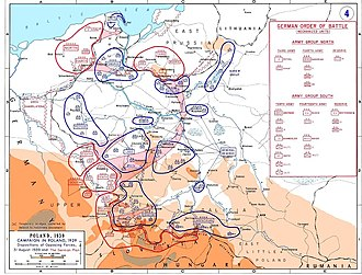 A Map showing the dispositions of the opposing forces on 31 August 1939 with the German plan of attack overlaid in pink.