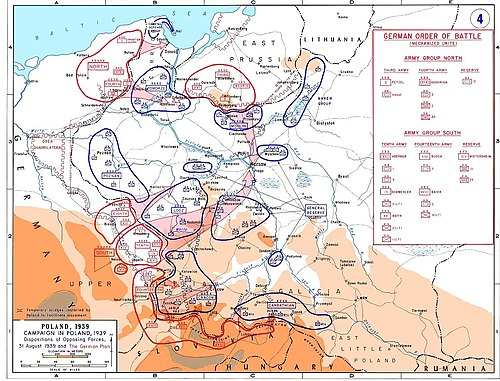 Dispositions of opposing forces, August 31, 1939, and the German plan. Poland1939 GermanPlanMap.jpg