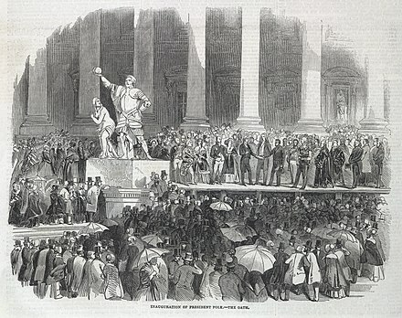The inauguration of James K. Polk, as shown in the Illustrated London News, v. 6, April 19, 1845 Polk inauguration Oath London News.jpg