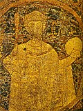 Portrayal of Stephen I on the Hungarian coronation pall from 1031