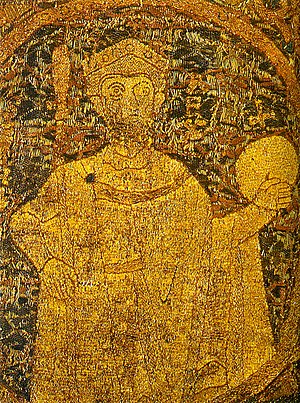 Stephen I of Hungary - Portrayal of Stephen I on the Hungarian coronation pall from 1031