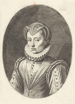 Renata of Lorraine - Image: Portret van Renata van Lotharingen, hertogin van Beieren, Johann Sadeler (I), 1588 1595