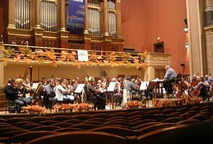 Krzysztof Penderecki - Penderecki conducting Sinfonia Varsovia during the rehearsal, Rudolfinum, Prague Autumn International Music Festival, 2008