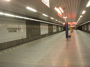 Pražského povstání (Prague Metro) - Platform of the station, exit staircase at the opposite end
