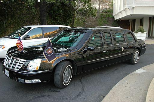 President's limousine outside hotel