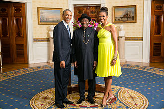 Former Nigerian President Goodluck Jonathan (center) with United States President Barack Obama and First Lady Michelle Obama in August 2014 President Barack Obama and First Lady Michelle Obama greet His Excellency Goodluck Ebele Jonathan, President of the Federal Republic of Nigeria.jpg
