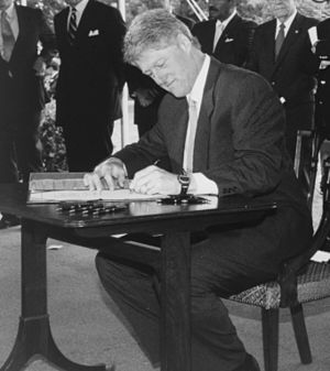 National Voter Registration Act of 1993 - Clinton signing the bill