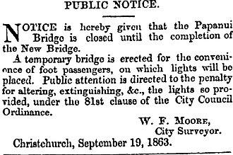 Hamish Hay Bridge - Advertisement advising of the closure of the bridge in September 1863