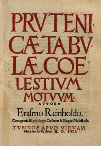 Prutenic Tables - Original 1551 Tübingen edition
