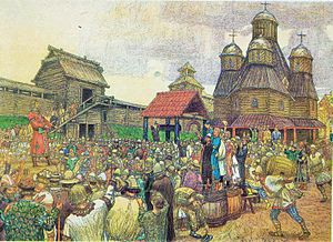 "1340s - A ""veche"" or popular assembly of the Pskov Republic, which officially became independent by the Treaty of Bolotovo in 1348"