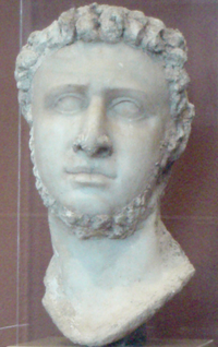 Marble statue head with stucco, likely originally of Ptolemy IX, then altered slightly by Ptolemy X